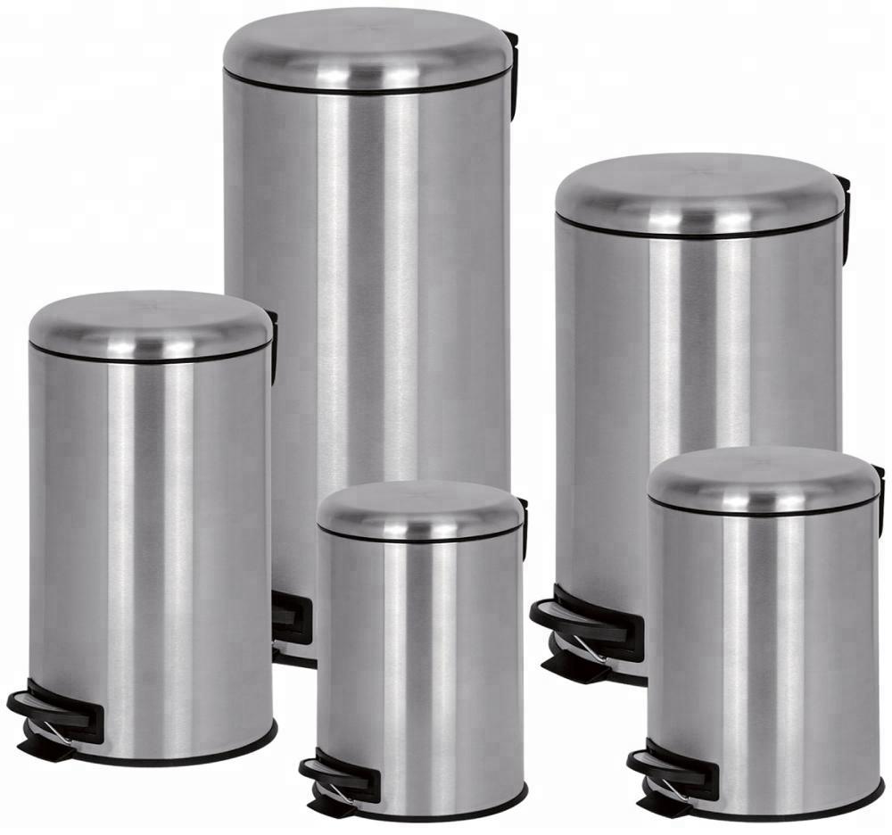 New polishing finishing stainless steel spiral pedal bin trash can waste bin dust bin for indoor3L/5L/12L/20L/30L