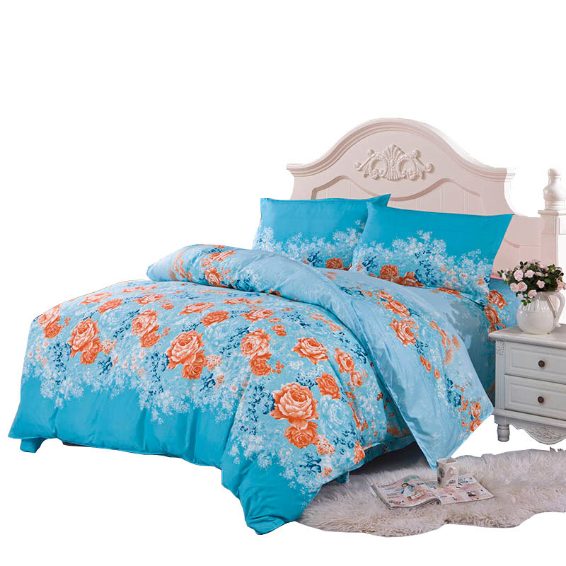 polyester aloe cotton twin full queen flowers printed color fastness blue bedding set king size