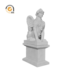 hand carved garden marble material famous stone monster Sphinx sculpture MSL-097