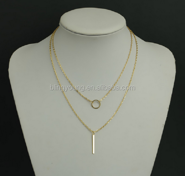 Lady fashion jewelry loop and strip pendant tassel multilayer necklace