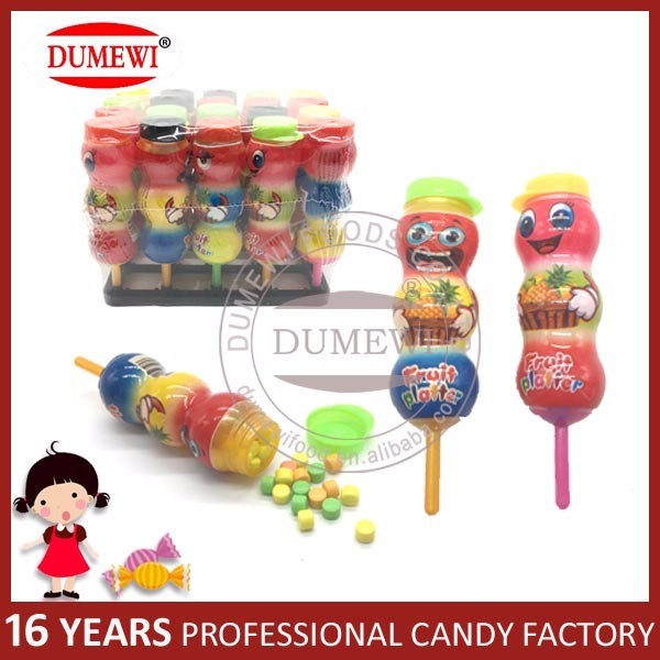 Fruit Flavor Hard Candy Gourd Shape Lollipop Toy Candy