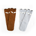 Cotton cute fox kids children girls baby socks hosiery grey winter happy compression thermal high running