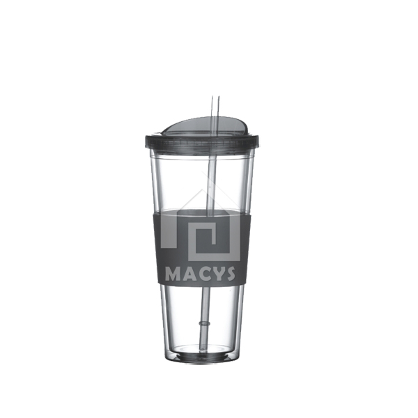450ml/16oz plasitc drinking mug with straw and lid, soft rubber band