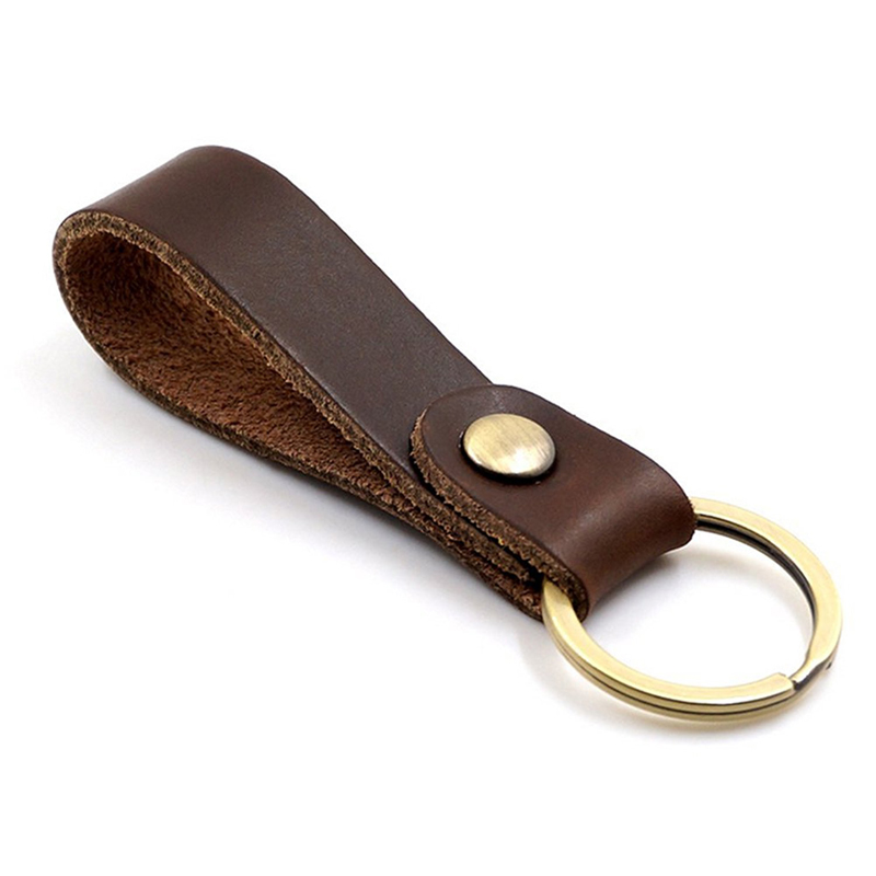 Brown Leather Promotional Keychain /& Keyring