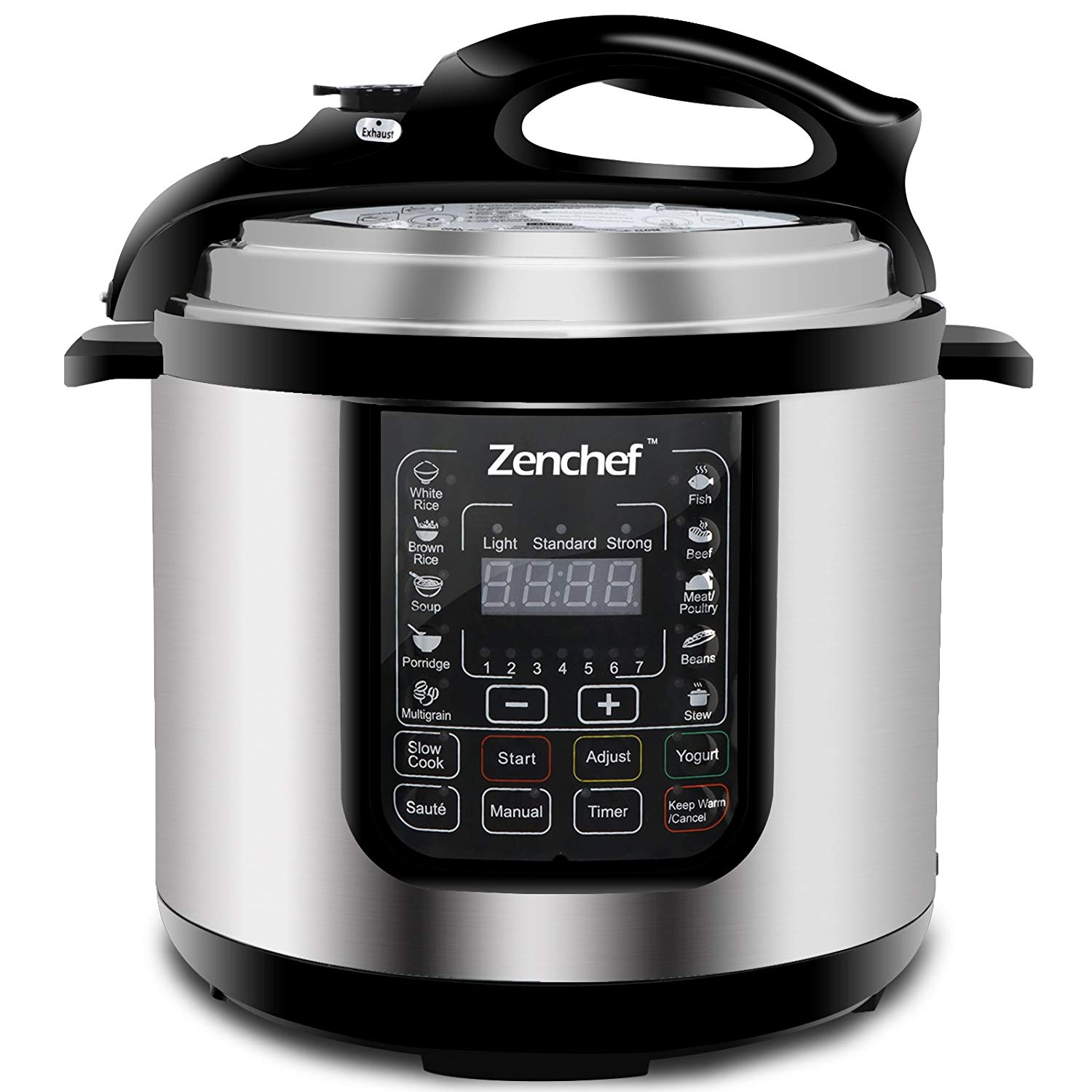SUPER DEAL 6 Qt 14-in-1 Multi-Use Programmable Pressure Cooker Stainless Steel Electric Pressure Cooker 1000W w/LED Display Screen, Rice Cooker, Sauté, Steamer, Slow Cooker, Yogurt Maker & Food Warmer