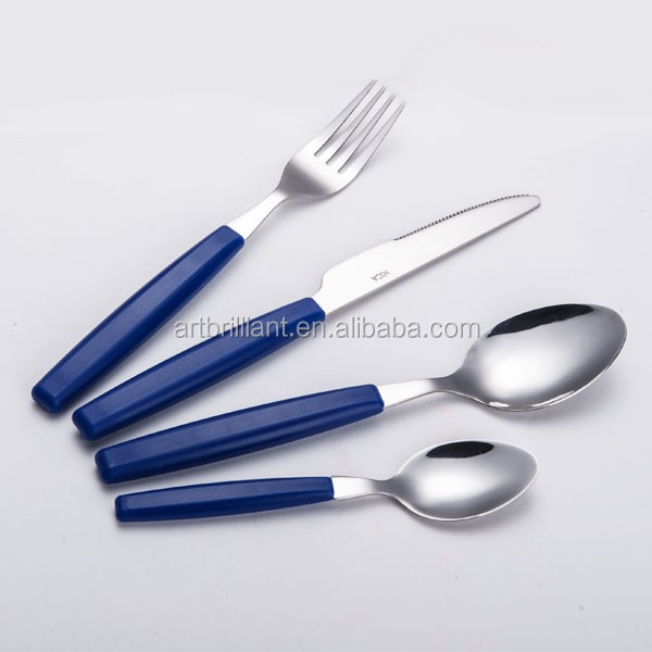 Plastic Blue Handle Cutlery Crockery From China 12/16/24pcs Set ...