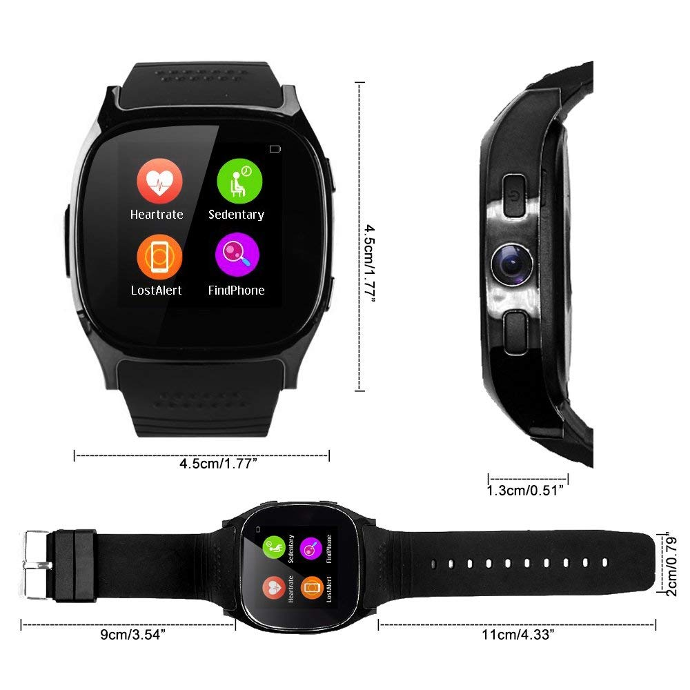 Support SIM &TF Card Bluetooth T8 Smart Watches with Camera Sync Call Message Men Women Kids Smartwatch for IOS Android