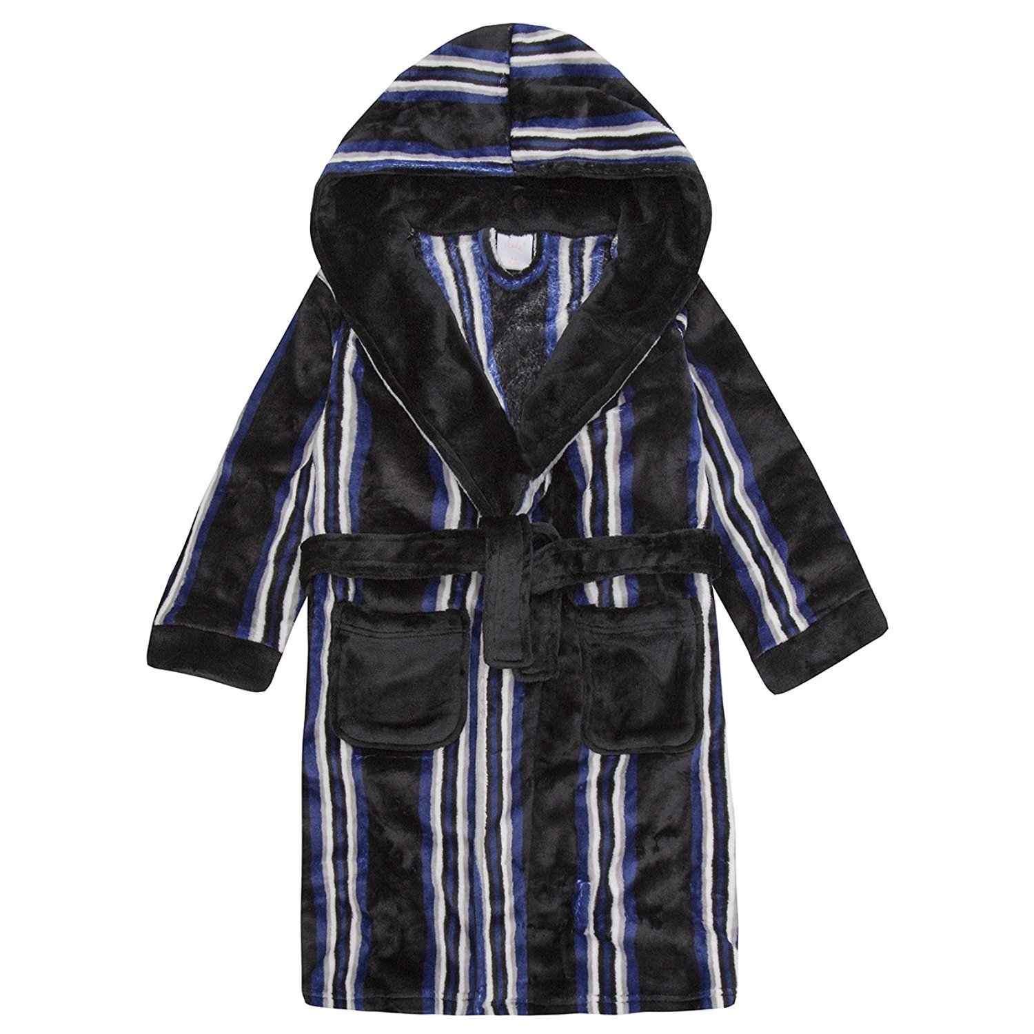 Get Quotations · 4Kidz Childrens Boys Striped Dressing Gown - Flannel Fleece  Hooded Night Robe 8411396cb