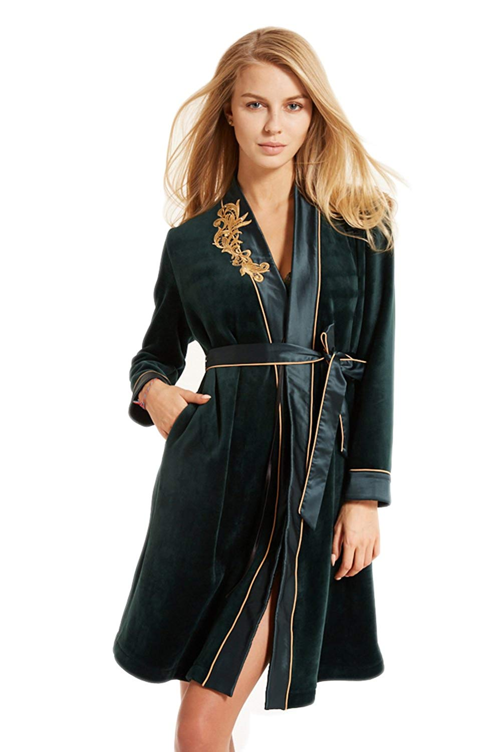 Get Quotations · Shanghui Womens Plush Robe With Belt Warm Long Plush  Bathrobe With Two Pockets-Neckline Embroidery 3563e8fef