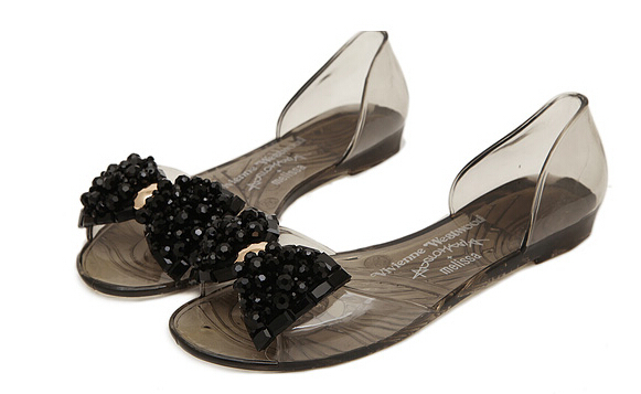f6da9a8cc0c773 Buy Sandals shiny bow crystal jelly ladies flat with rhinestones  transparent plastic flat summer in Cheap Price on m.alibaba.com
