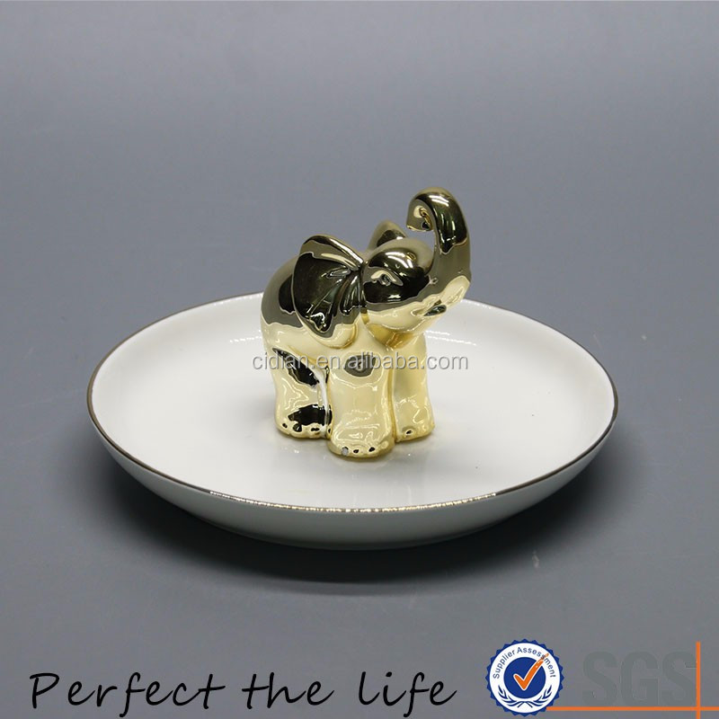 Ceramic Overgild Elephant Animal Jewelry holder with White Plate