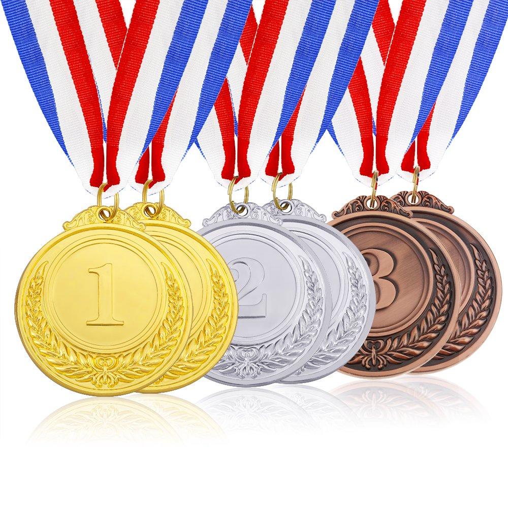 Caydo 6 Pieces Gold Silver Bronze Award Medals - Olympic Style Winner Medals Gold Silver Bronze with Ribbon