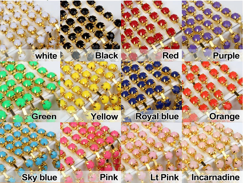colors glass chaton beads cup chain brass rhinestone chain