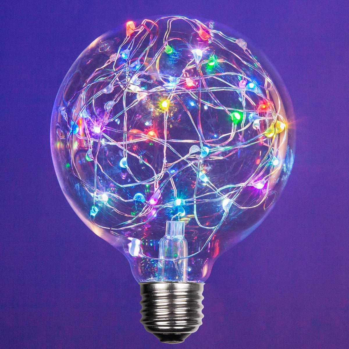 LEDimagine Fairy String Light Bulb Fairy Lights, LED Globe Fairy Light Pendant Bulb, Globe Fairy LED Light (RGB Multicolor Color Changing, G95 Globe Light Bulb, E26 Base)