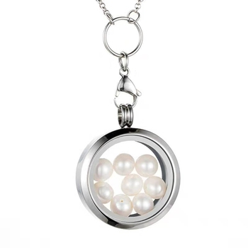 Fashion 316L stainless steel living memory floating charm glass thick locket pendant with 6-8mm pearls