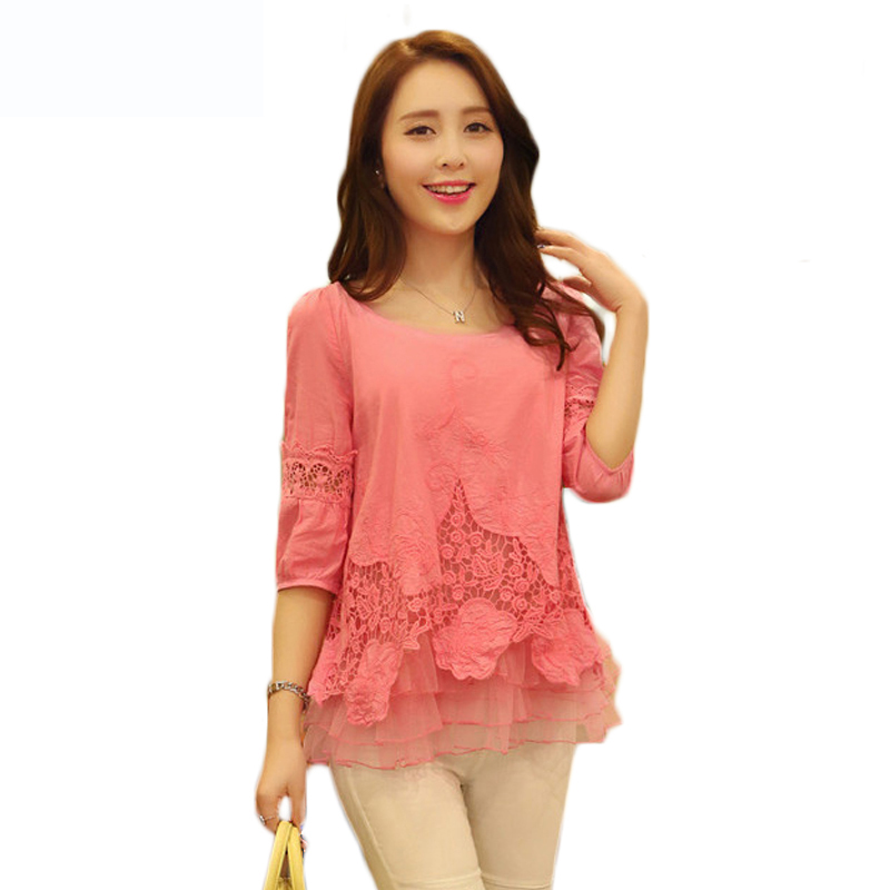 cdec6b3a4ae Red White Long Sleeve Lace Blouse Women Plus Size Chiffon Blouses And  Shirts Blusas Femininas 2015 Blusas De Renda Feminino