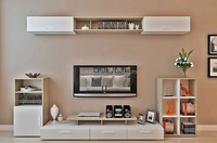 Fancy design wall mounted tv stand with cabinet