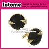 Whistler Cufflinks/ Round Gold Tone Crystal Black Enamel Round Cuff Links