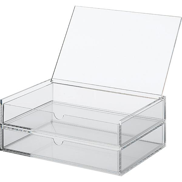 Modern Acrylic Flip Top Box 2 Drawers Wide Acrylic Cosmetic Box ...