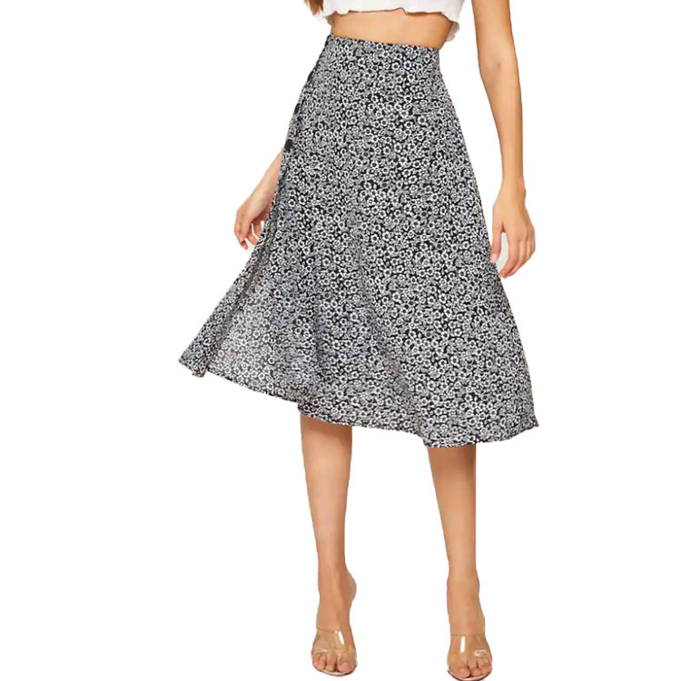 High Waist A Line 100% Rayon Ditsy Floral Button Side Split Thigh Skirt For Women