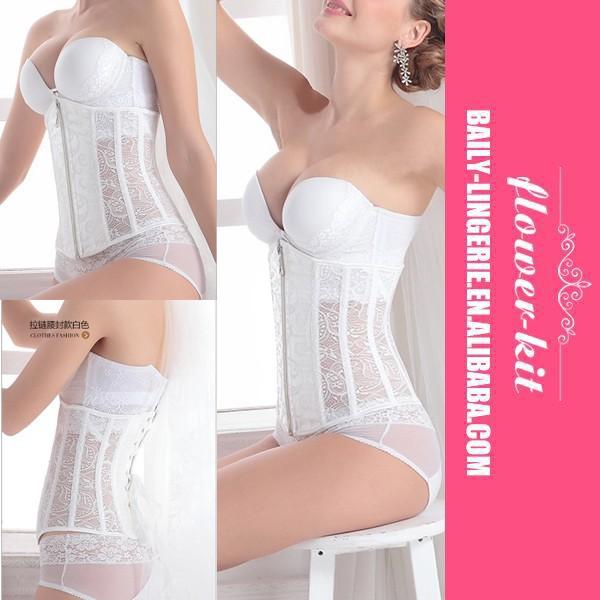 40ec228b3 الجملة أزياء المرأة الأبيض العروس زيبر مثير السيدات مشد-ملابس داخلية ...