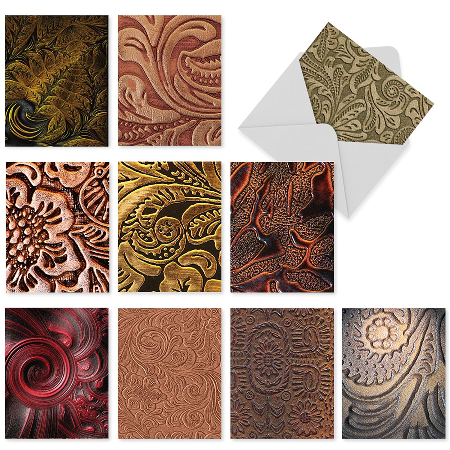 M3011 Bound For Greatness: 10 Assorted Thank You Note Cards Feature the Fine Art of Tooled Leather, w/White Envelopes.