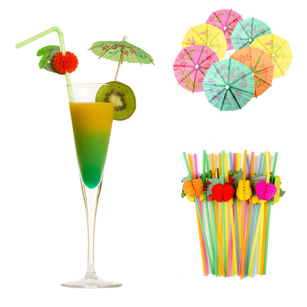 Tropical Palm Leaves Hibiscus Flowers Drink Umbrella Picks Colorful