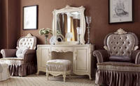 YM020 luxury antique elegant french ivory white solid wood make up dresser with mirror stools bedroom set home furniture