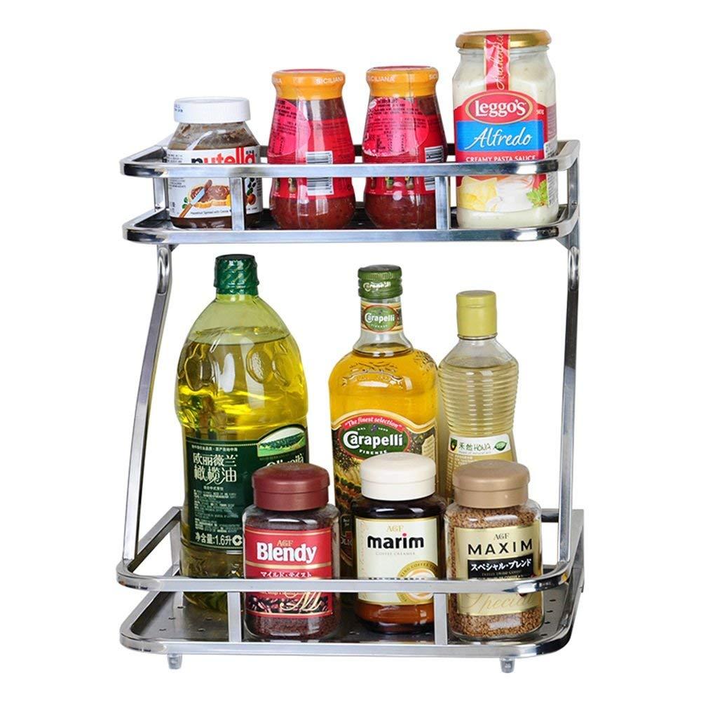 Japanese double-layer hollow kitchen seasoning rack rack stainless steel countertop storage shelf oil salt sauce vinegar seasoning storage rack