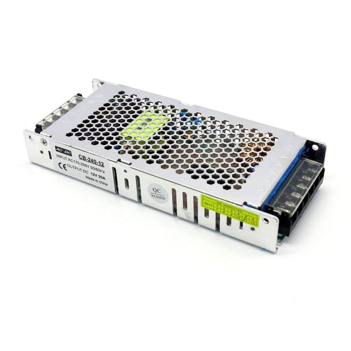Ultradünne 12 V 20A 250 Watt AC-DC Schaltnetzteil LED-Treiber DC Transformator AC170V-250V 50 / 60Hz für LED-Streifen