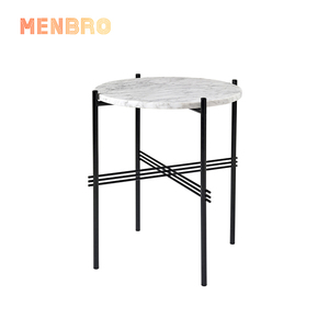 wholesale modern home furniture designer coffee desk living room round metal marble stone top end side table set