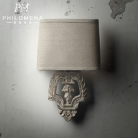 Antique wall lamp bedroom lighting grey fabric wooden body new design indoor wall sconce