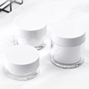 Luxury 15ml 30ml 50ml white round cosmetic pump cream bottle jar