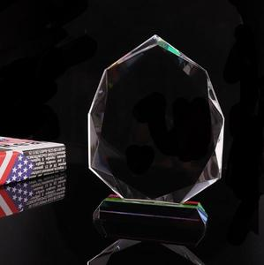 wholesale round optical glass crystal award trophy for ceremony award