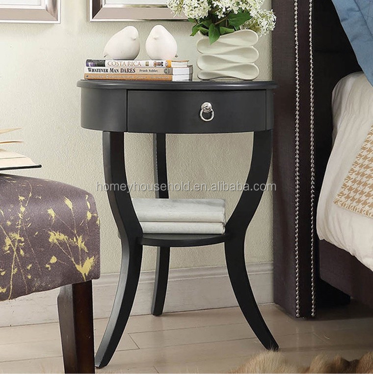 New Design Vintage Painting Side Coffee Table with Drawer and Shelf