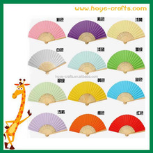 handmade various colors bamboo folding hand fan