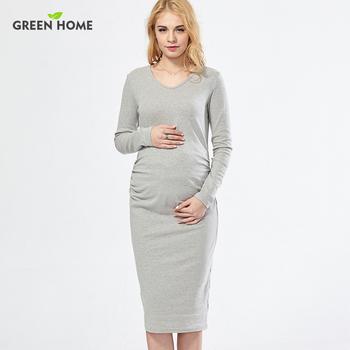 Modieuze Zwangerschapskleding.Green Home Zwangerschapskleding Katoen Lange Winter Moederschap Jurk