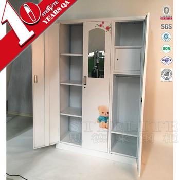 Powder Coated Bedroom Furniture Steel Almirah / 3 Door Bedroom ...