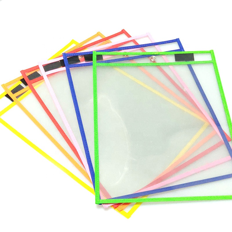 PVC PET Material with Loop kids educational writing practice dry erase pockets