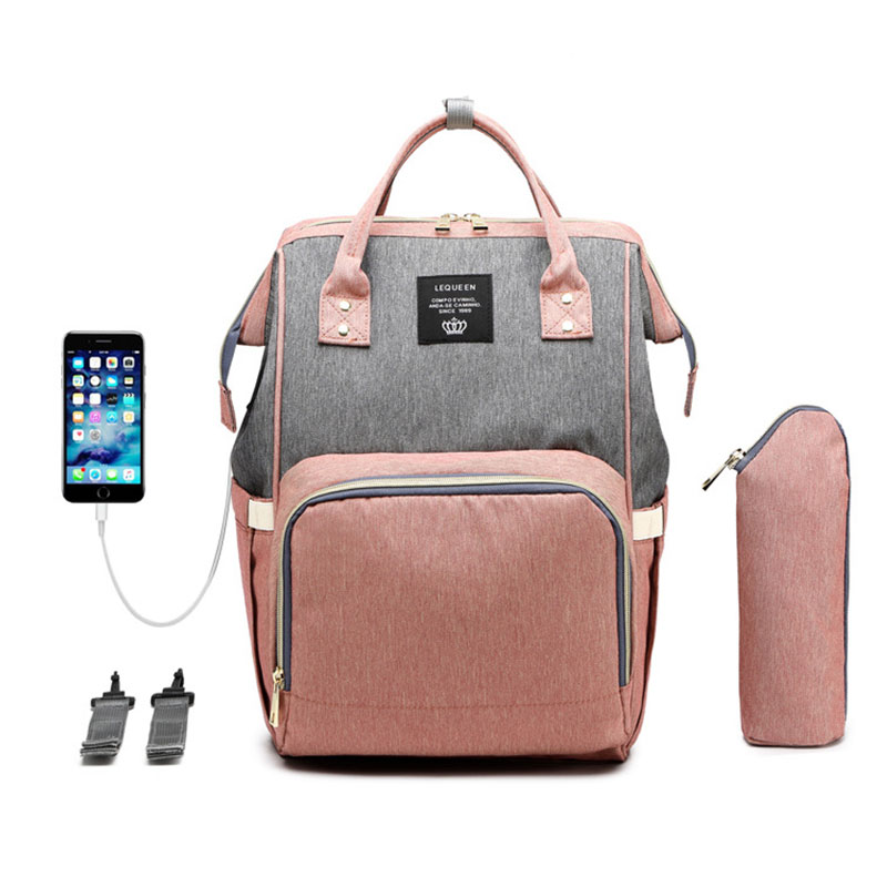 New Updated Lequeen diaper bag backpack with stroller strap and USB interface Maternity nappy changing bag for travel baby care