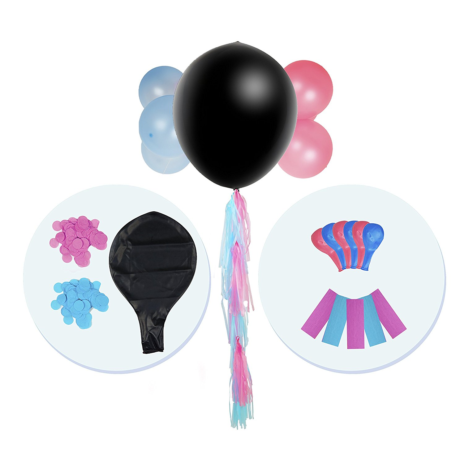 Cute Gender Reveal Kit - Baby Shower & Gender Reveal Party Supplies - Baby Shower Kit with Balloons, Tassels & Cord