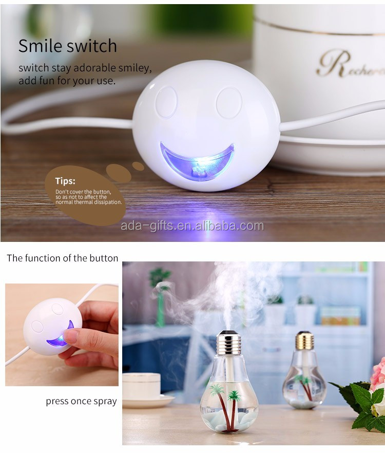 Colorful bulbs air humidifier office desktop Built-in micro landscape nightlights humidifier