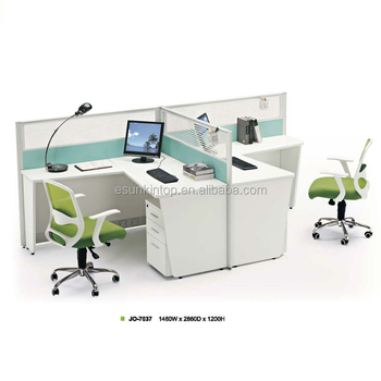 Used Office Workstation 2 People Person Office Desk Table Office Partition  Material Glass Wall With Melamine