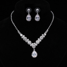 Charming 925 sterling silver white gold plated Cubic Zircon CZ Clear diamond Earrings Necklace Bridal Jewelry set