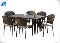 Outdoor Patio Wicker Furniture Resin 7-Piece Dining Table & Chair Set