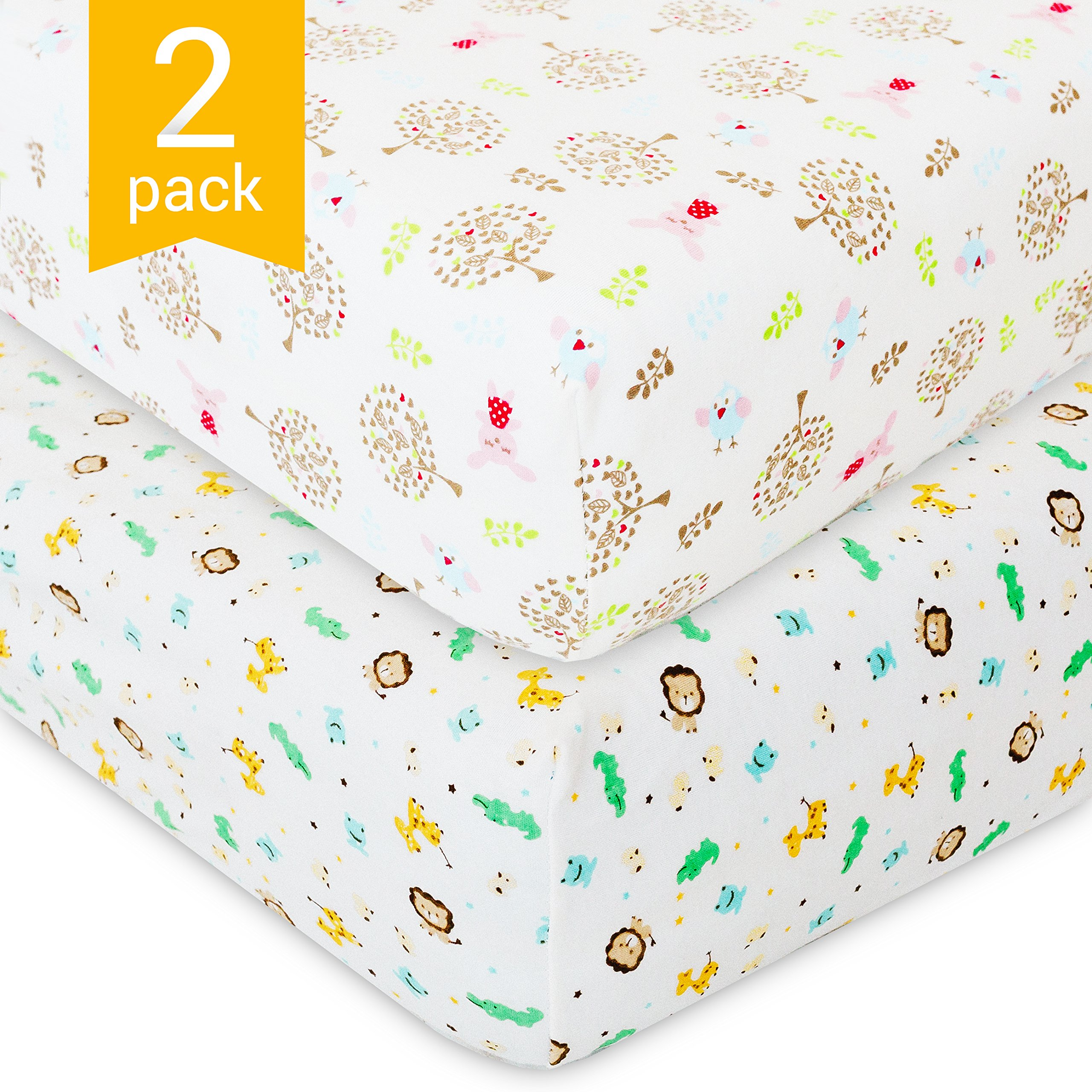 Crib Sheets for Baby - 2 Unisex Bedding Sheet Set - 100% Organic Fitted Jersey Cotton - Bed Mattress Cover - For Boys and Girls - Infant & Toddler - Rabbits and Lions Print - Great Baby Shower Gift