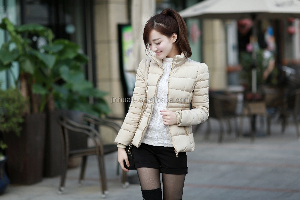2015 new coming short hollow cotton-padded slim fasion winter and autumn clothes coat jacket for female wowen