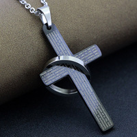 High Polish Cross With Circle Men's Stainless Steel Lord's Prayer Cross Pendant