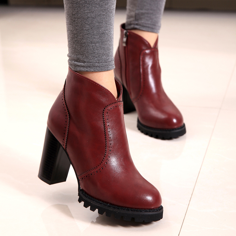 c6a4b34cf424 Get Quotations · British style Autumn New Women s Short Ankle Boots Chunky Heel  Boots Retro Martin Boots platform Boots