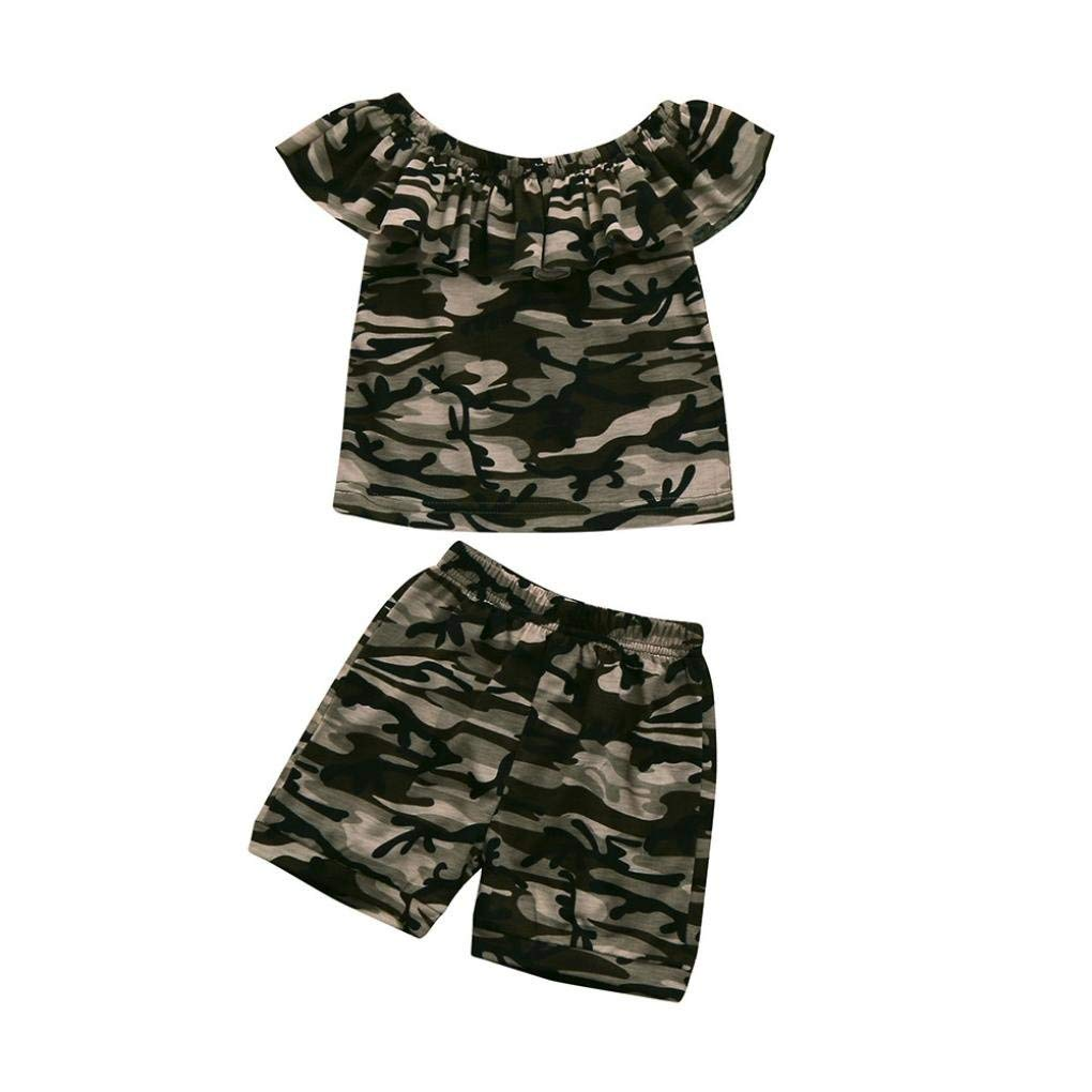 Outtop(TM) 2pcs Toddler Kids Baby Girls Clothes Sets Infant Baby Summer Shortsleeve Camouflage Floral T shirt Tops+Shorts Outfits Clothes Set (12M(6~12months), Camouflage)